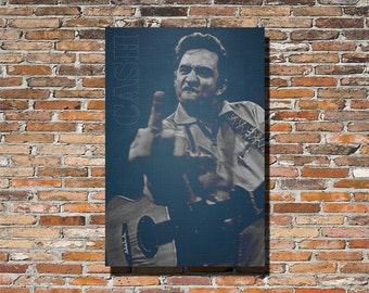 JOHNNY CASH 18x12 Print, Johnny Cash Print, Johnny Cash Poster, Johnny Cash Wall Art, Blueprints, Blueprinted, Instagram, Johnny Cash