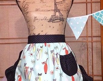 Vintage apron , cat apron, half apron, Atomic Tabby apron