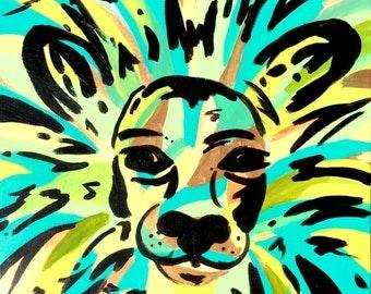 Anderson the Lion, abstract lion, nursery art, safari nursery, lon painting, nursery decor, cutie patootie art