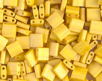 Tila Bead- Matte Op Canary  #2311  Miyuki Tila Beads - 10 grams