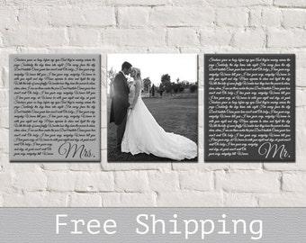 1st Anniversary Gift - Wedding Vows Art - Wedding Vows Canvas - 1st Anniversary Gift - Set of 3 - Custom Canvas Print - Free Shipping