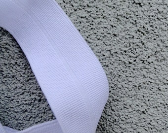 1 inch wide fold over elastic, white FOE, diaper elastic, heavy duty elastic tape, sewing supplies, sold by 2 YARDS