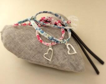 Liberty of London bracelet, girls bracelet, wrap bracelet, friendship bracelet,  Liberty of London fabric, heart charm, bridesmaid gift