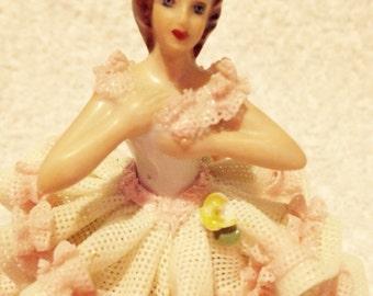 Vintage 1950's Dresden Ballerina Porcelain Figurine