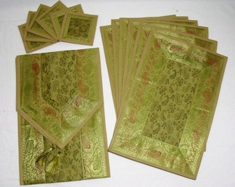Green Color Indian Silk Brocade Table Runner with Placenat 6 and Coaster 6 Size 16x62