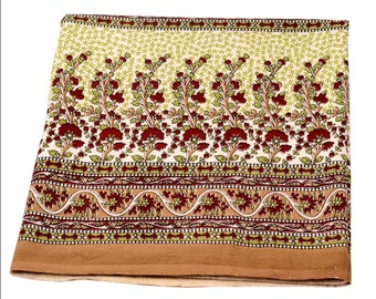 Indian Hand Block Printed Design Cotton Double Bed sheet size 90x108