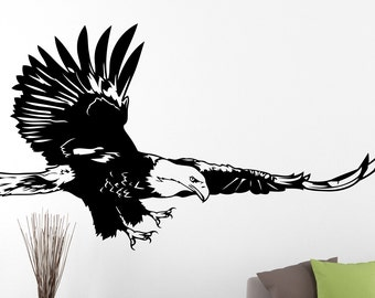 Eagle mural etsy for Eagle wall mural