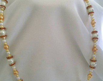 Yellow/White Pearl Necklace