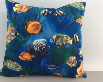 Tropical Fish Pillow Cover-Beach Pillow-Tropical Pillow-Coastal Pillow-Nautical Pillow-Lake Pillow-Boat Pillow