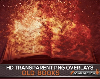 20 TRANSPARENT PNG Book Png Overlays - Transparent PNG Photoshop Overlays - Antique Book - Magical Book - Book Overlays - Fantasy Books
