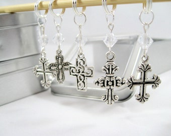 Crosses Stitch Markers Featuring Swarovski Crystals - Free US Shipping!