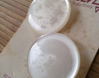 """Large Pearl Vintage Buttons - Vintage Notions - Two Large Lucite Shank Buttons on Card - 1 5/16"""" - 4 Pieces"""
