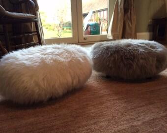 Vintage sheepskin footstool