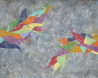 """Contemporary Modern Abstract Wall Art Textural Painting """"Schooling"""""""
