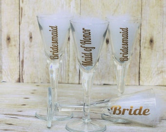 Bridal Party Martini Shot  Glasses-Bridal Shower-Bridal Party Favors-Wedding Favors-Cocktail Glasses-Bachlorette Party-Bridal Wedding Party