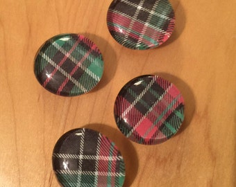 Tartan Glass Bubble Magnet - Set of Four