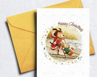 Christmas Card - Dog Christmas Card -  Happy Christmas