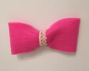 Handmade felt bow hair clip