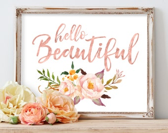 Nursery Wall Art, Printable Nursery Art, Baby Gift, Hello Beautiful, Blush Nursery Art, Coral Nursery Art, Rose Gold, Floral Nursery Art