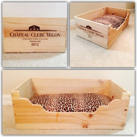 Small dog bed wooden dog bed wine crate wood dog beds cat for Small wine crates
