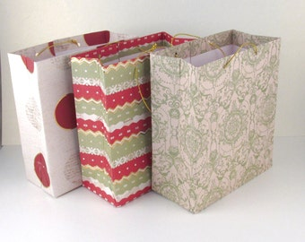 Gift Bags, Small, Christmas Patterns, Set of 3