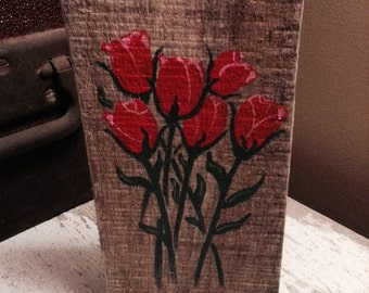 Miniture painting shelf or wall display (fresh cut roses) pallet wood