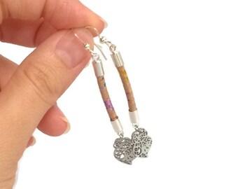 Cork earrings, Viana's heart earrings, small hearts of Viana, Portuguese cork, multicolored cork earrings, vegan earrings, vegan jewelry