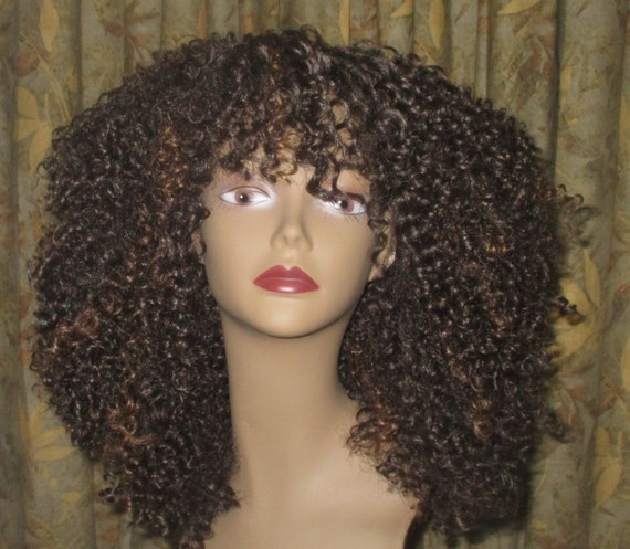 Essence Wigs Brown Bombshell Curly Kink Natural Hair Lacefront Wig ...