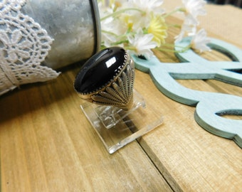Large Black Onyx Silver Ring