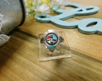 Zuni Sterling Silver Inlay Arrowhead Ring