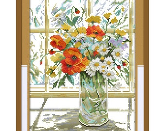 Cross Stitch Kit Flower vase on windowsill DMC threads