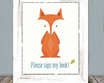 Woodland Animals Fox Book Sign, 5x7 and 8x10
