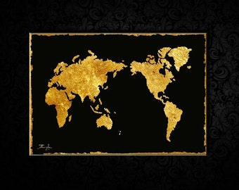 Oil painting, Gold Foil Canvas WORLD Map, Family Map, World Map Art, Living Room