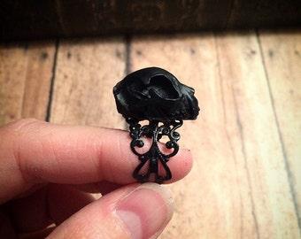 Black kitten skull ring // cat skull ring // gothic ring // cat skull replica ring / oddities / curiosities / oddity ring