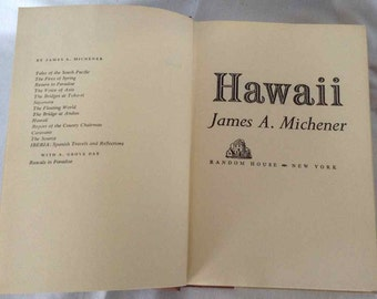 """Vintage """"Hawaii"""" by James A. Michener - Published by Random House, New York - 32nd Printing"""
