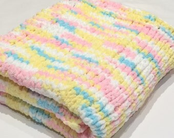 Baby Blanket, Knit Baby Blanket,  Baby Shower Gift,  Stroller, Crib, Travel, Car Seat, tummy Time, Photo Prop.