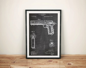 J.M. Browning Gun Firearm Pistol Patent Art Poster