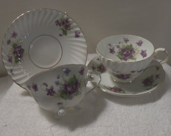 Tea for Two Violets Cup and Saucers