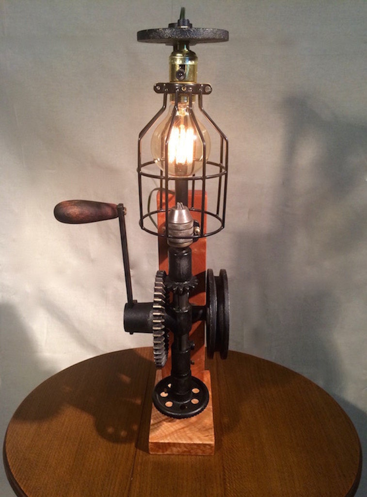 Hand Crank Drill Press Light Repurposed Vintage Industrial