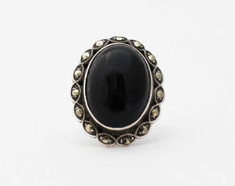 Art Deco Onyx, Marcasite & Sterling Ring