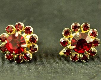 Red Rhinestone Earrings