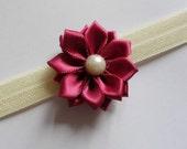 Flower Headband - Burgundy Flower Handmade Headband One Size fits most /Newborn / Babies / Toddlers / Girls/ Young Adults / Adults