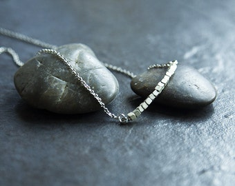 Modern Necklace, Cube Necklace, Modern Cube Necklace, Modern Silver Bar Necklace, Silver Cube Necklace, Modern Silver Necklace