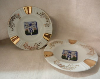 Lot of two ashtrays Limoges porcelain