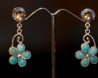 SALE-9.50 Silver Turquoise Flower Earrings