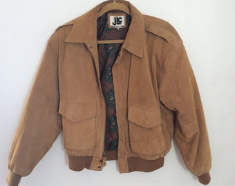 90s brown suede leather jacket