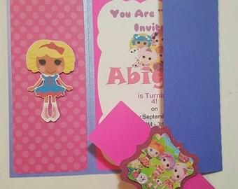 10 Lalaloopsy Party Invitation, Lalaoopsy Inspired Birthday Party Invitation, Lalaloopsy Invitation, girl Invitation, Handmade