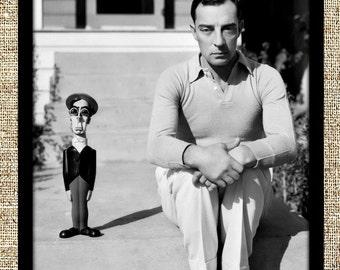 Buster Keaton photograph, vintage photo print, classic old Hollywood photograph, black and white print, boho wall decor