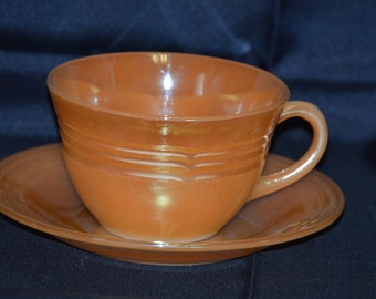Fire King Peach Lustre Cup and Saucer 3-Band Pattern Vintage Item #2937/2938