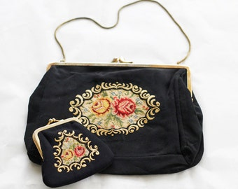 c1950s German Golden Seal clutch and matching purse, lovely needlework on a black satin-crépe base.